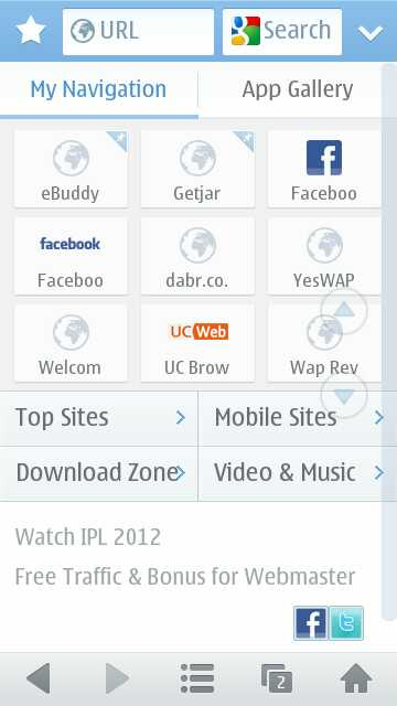 UC Browser 8.4 Start Screen on Nokia N8