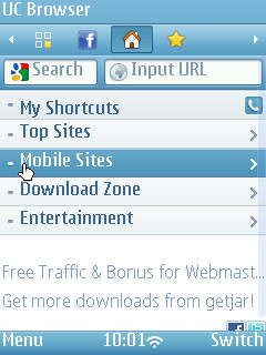 UC Browser 8.4 Start Screen on Nokia N95-3