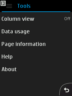 Nokia S40 Browser - Tools Sub-Menu