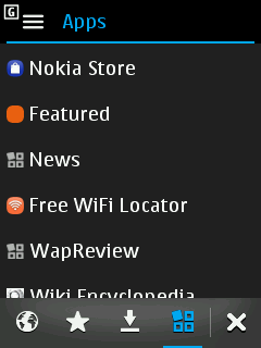 Nokia S40 - Web Apps Menu