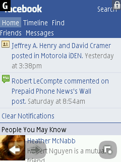 Facebook - Nokia S40 Browser