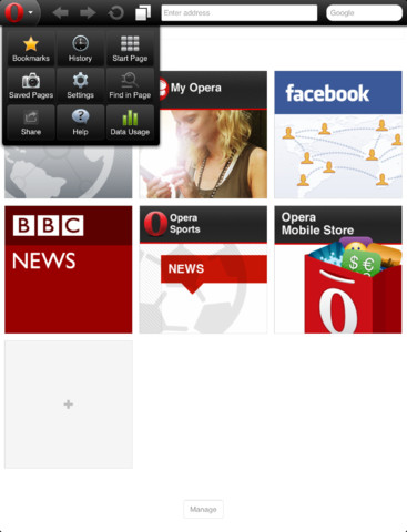 Opera Mini on the iPad