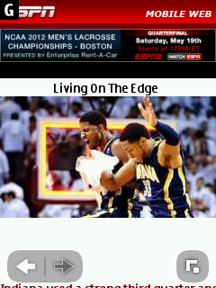 m.espn.com in Nokia S40 proxy browser