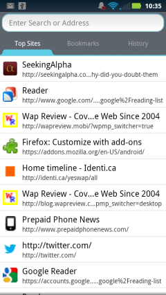 Firefox Mobile 14 - Awesome Page
