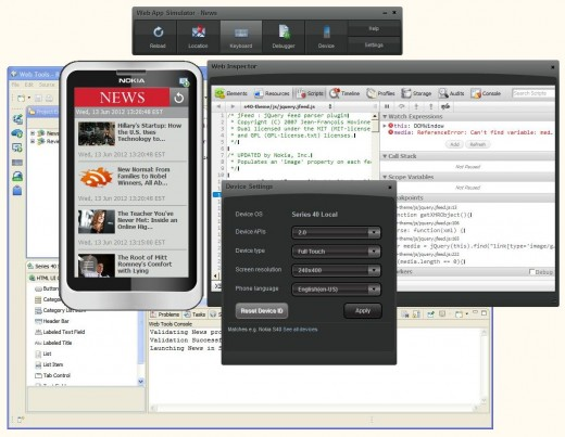 Nokia Web Tools 2.0 With Emulator and Debugger