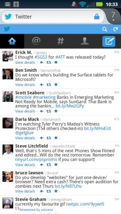 Firefox Mobile 14 - Twitter