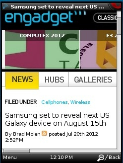 Engadget - Desktop view in Opera Mini