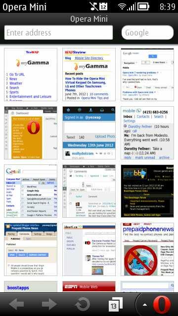 Opera Mini 7.0 Update 2 for Symbian - Speed Dial Screen