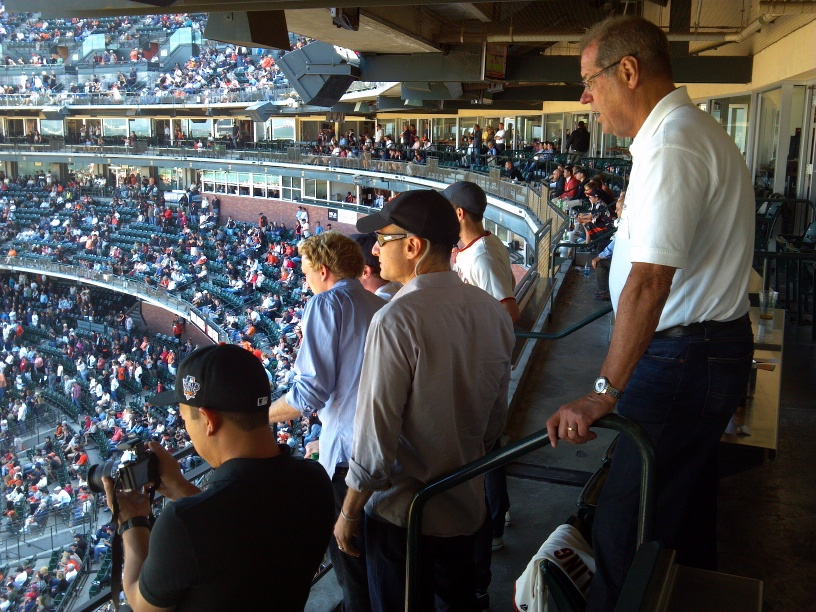 Bloggers follow the Game, AT&T Director of Corporate Communications John Britton looks on