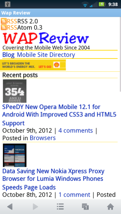 UC Browser Mini 8.0 - Thumbnail images should float left and ad should be centered