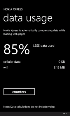 Lumia Xpress Browser - Data Use Screen