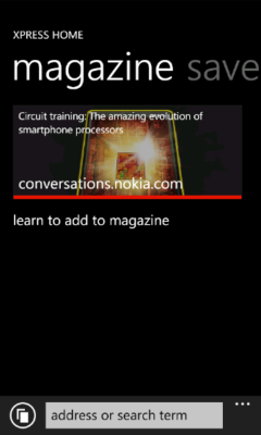 Lumia Xpress Browser - Add to Magazine Prompt