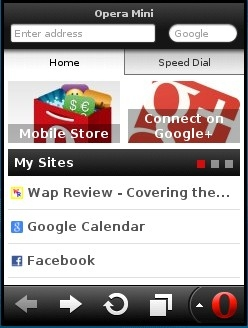 Opera Mini 7.1 Start Screen