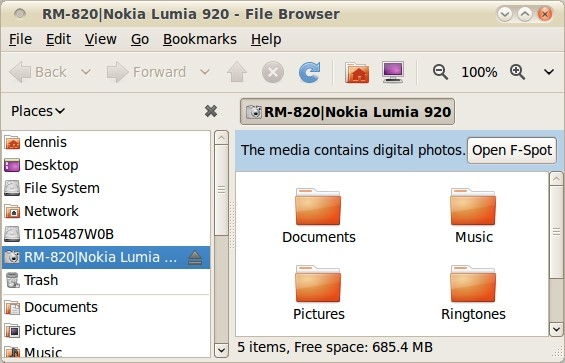 Nokia 920 Filesystem in Linux Nautilus