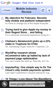 Mobile IE10 - Google Reader