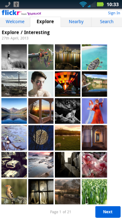 Flickr Explore Tab