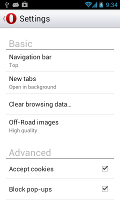 Opera Mobile 14 - Settings Menu