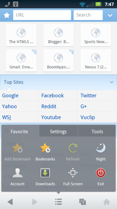 UC Browser Mini 8.6 - Start Screen and Menu
