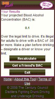 Blood Alcohol Checker - Results page