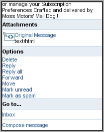 Y!Mail Beta - Message Menu