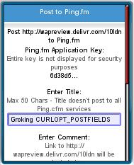 Delivr's Post to Ping.fm form.