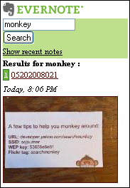 Evernote Mobile search