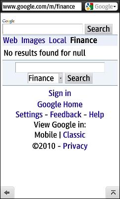 Google Finance - Broken in Opera Mini