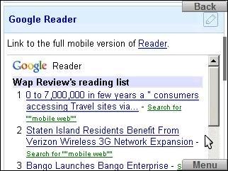 Google Reader in iGoogle on Skyfire