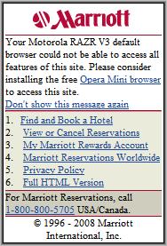 Marriot's Opera Mini Message