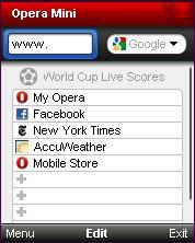 Opera Mini 5.1 Start Page