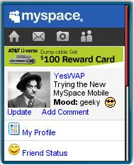 MySpace Mobile in Opera Mini
