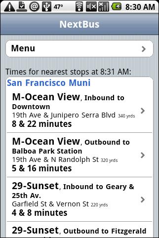 NextBus Touch Web App