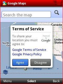Opera Mobile 10.1 - Google Maps TOS