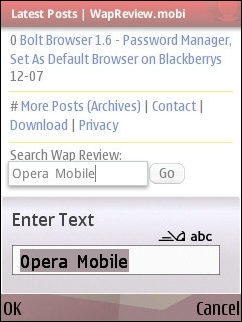 Opera Mobile 10 - Full-Screen Edit