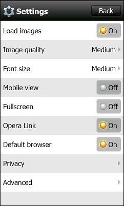 Opera Mini 5.1 For Windows Mobile - Settings Menu