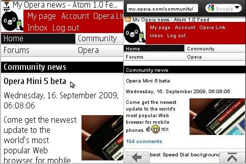 Opera Mini 5 Menus Hidden