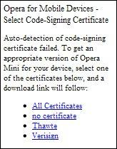 OPera Mini Certificate selection screen