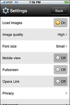 Opera Mini Settings