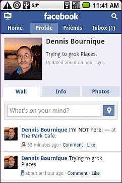 Facebook Wall With Place - Android Browser