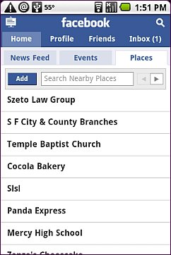 Nearby Places - Android Browser