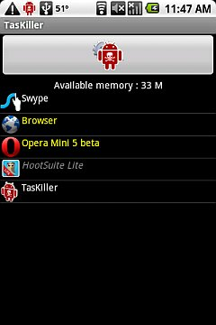 TasKiller Browser and Opera with 33 MB free!