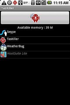TasKiller 39 MB Free.