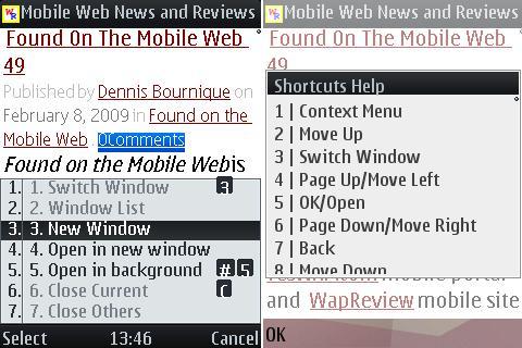 UCWEB 6.3 - Shortcuts and Windows Menu