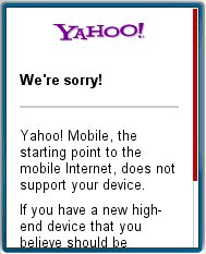 Yahoo Unsupported Message