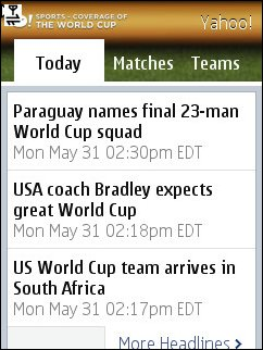 Yahoo World  Cup Mobile