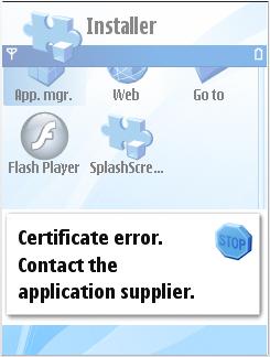 Certificate Error Message
