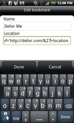 Edit Android Bookmarklet