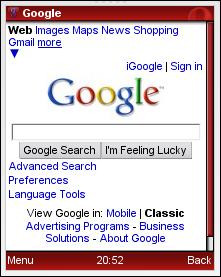 Opera Mini: Google Full Search Box