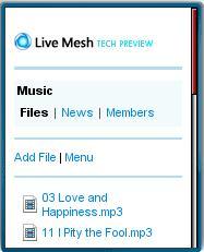 Live Mesh Mobile Web Interface