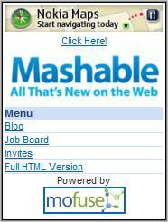 Mashable Mobile homepage